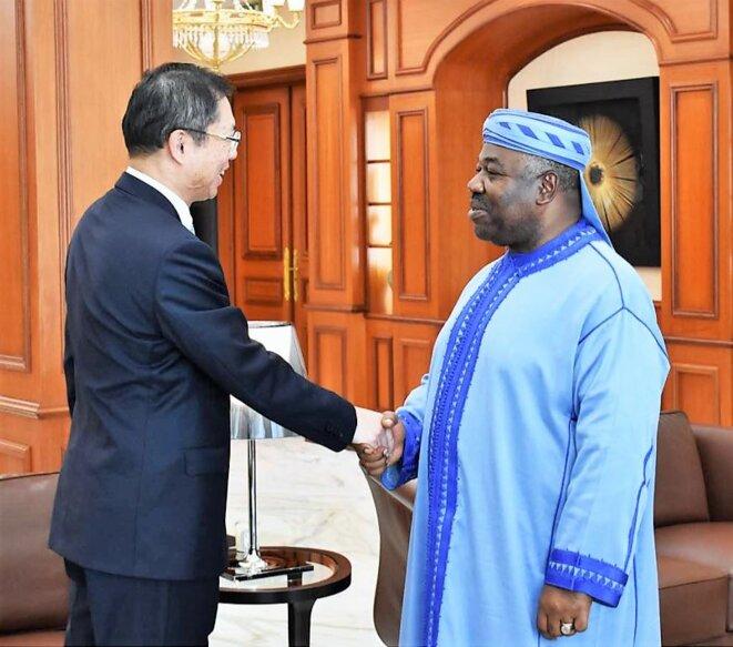 Ali Bongo Ondimba, Président du Gabon & Changchun HU, ambassadeur de la République Populaire de Chine au Gabon