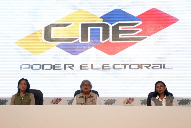 Annonce des résultats de l'élection présidentielle le 20 mai au soir par la présidente du CNE, Tibisay Lucena © Zurimar Campos, AVN
