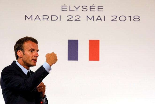 Emmanuel Macron, le 22 mai 2018 à l'Élysée, pour l'annonce de sa stratégie en direction des quartiers défavorisés. © REUTERS/Ludovic Marin