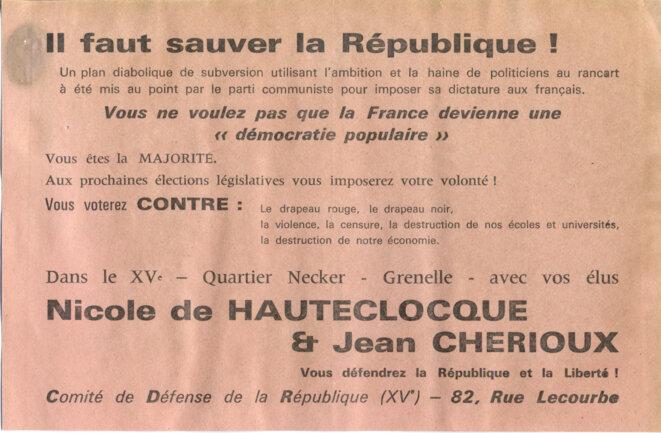 Appel à voter contre le parti communiste © Comité  de défense de la République