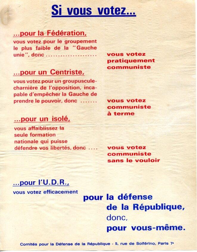 Tract pour appel au vote pour l'U.D.R. en opposition au parti communiste © Comité  de défense de la République