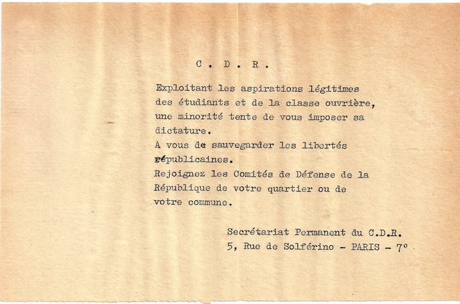 Invitation à rejoindre les comités de défense de la République des quartiers ou des communes. © Comité  de défense de la République