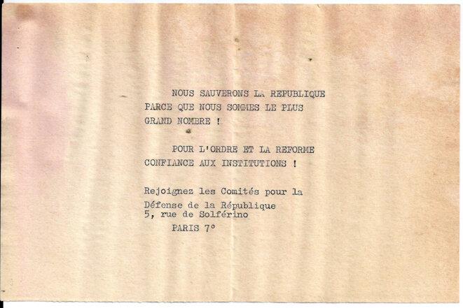 Appel à rejoindre les comités pour la défense de la République, CDR. © Comité  de défense de la République
