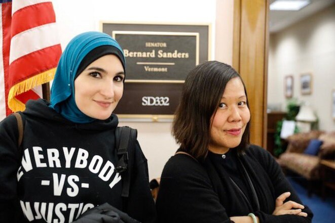 Linda Sarsour (g.), porte-parole nationale de la Women's March, et Winnie Wong (d.), «révolutionnaire américaine». © DR
