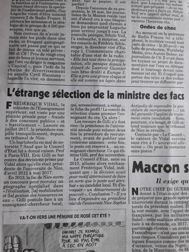 Le Canard enchaîné, 23 mai 2018, p. 3