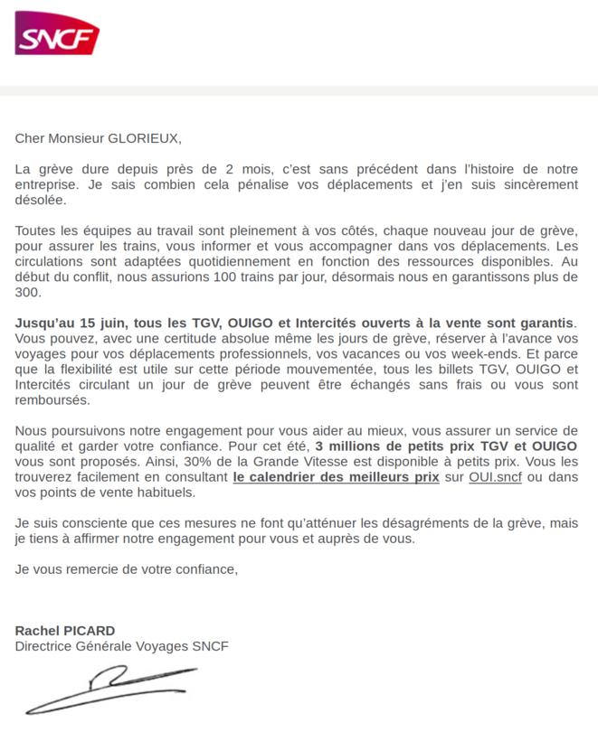 Lettre de la SNCF a ses bon clients