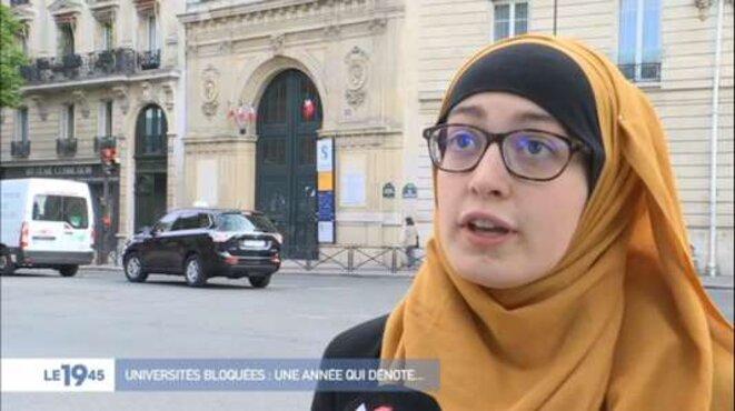 Maryam Pougetoux, intervenant dans un reportage sur les universités bloquées. © Capture d'écran M6