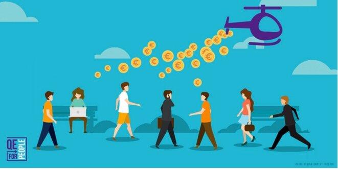 La monnaie hélicoptère, campagne de QE4People. © Positive Money Europe