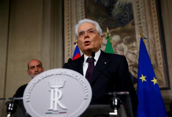 Le président italien Sergio Mattarella, dimanche 27 mai 2018, à Rome. © Reuters / Alessandro Bianchi