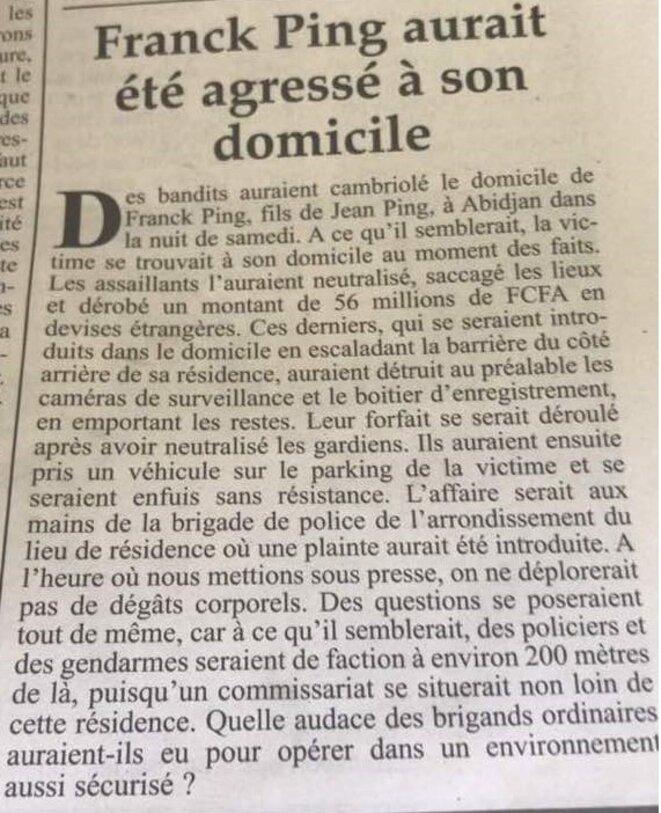 Braquage chez Franck Ping