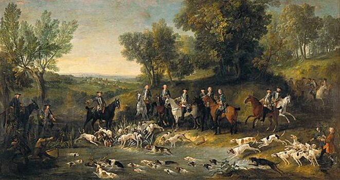 Louis XV chassant le cerf dans la forêt de St Germain - 1730 - Jean Baptiste Oudry -