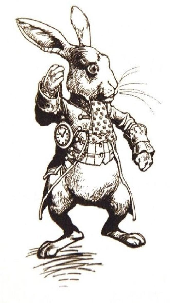 """The White Rabbit in Herald's Costume"" by John Tenniel (illustrateur britannique 1820-1914) © John Tenniel"