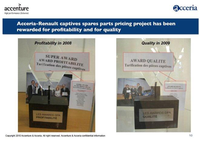 """Le programme Partneo a obtenu de """"super prix"""" interne de la profitabilité de Renaut en 2008, et le prix de la """"qualité"""" l'année suivante. © Mediapart/EIC"""