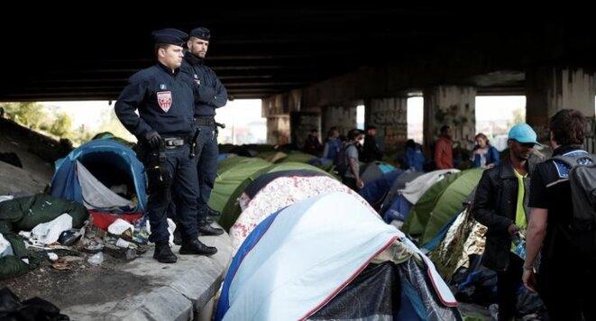 Évacuation du campement de migrants du Millénaire à Paris, mercredi 30 mai 2018. © Reuters