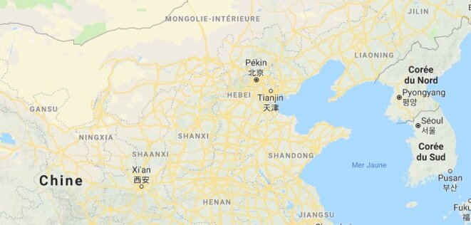 A l'ouest, les provinces de Gansu et Ningxia. © Google Maps
