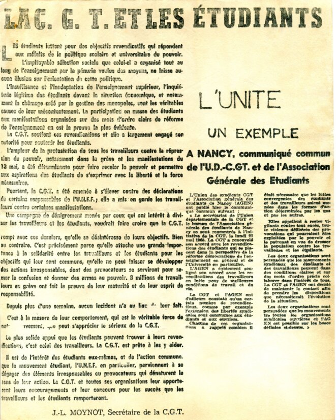 """""""La C.G.T. et les étudiants"""" © Jean-Louis Moynot, secrétaire CGT"""