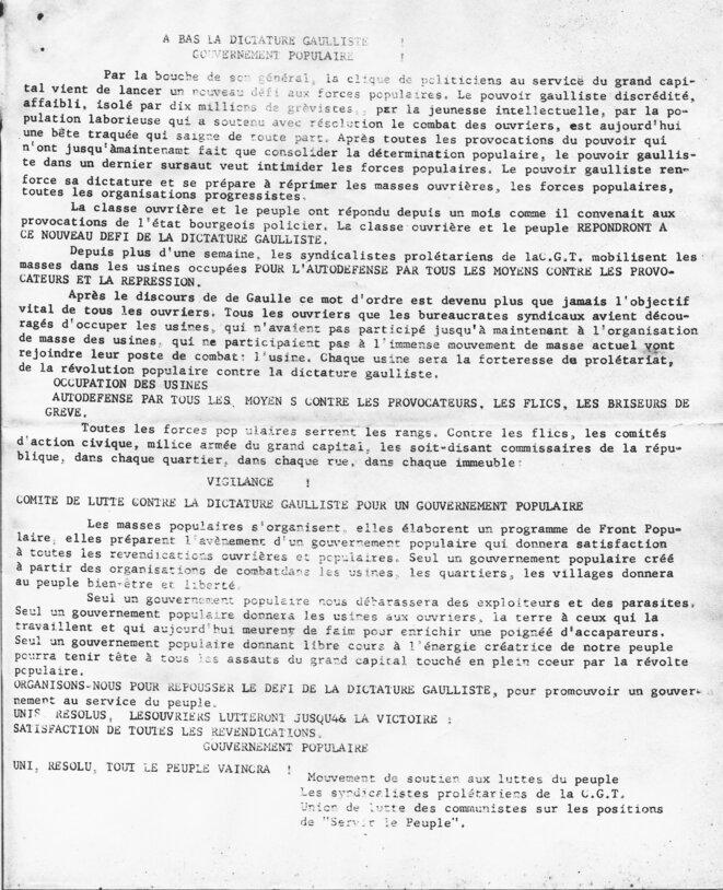 Comité de lutte contre la dictature gaulliste pour un gouvernement populaire © Les syndicalistes prolétariens de la C.G.T.