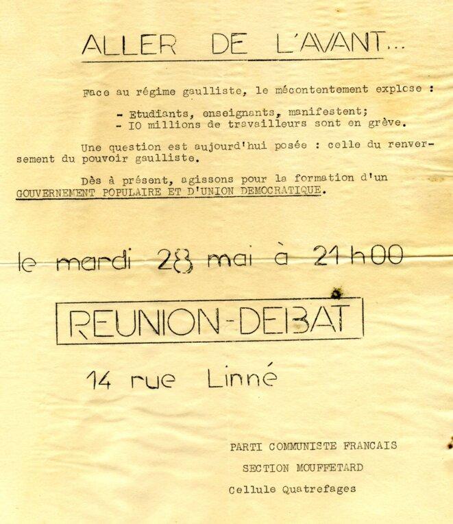 """Invitation à une réunion débat: """"Aller de l'avant...""""  du PCF pour le renversement du pouvoir gaulliste © Parti communiste français section Mouffetard, cellule Quatrefages"""