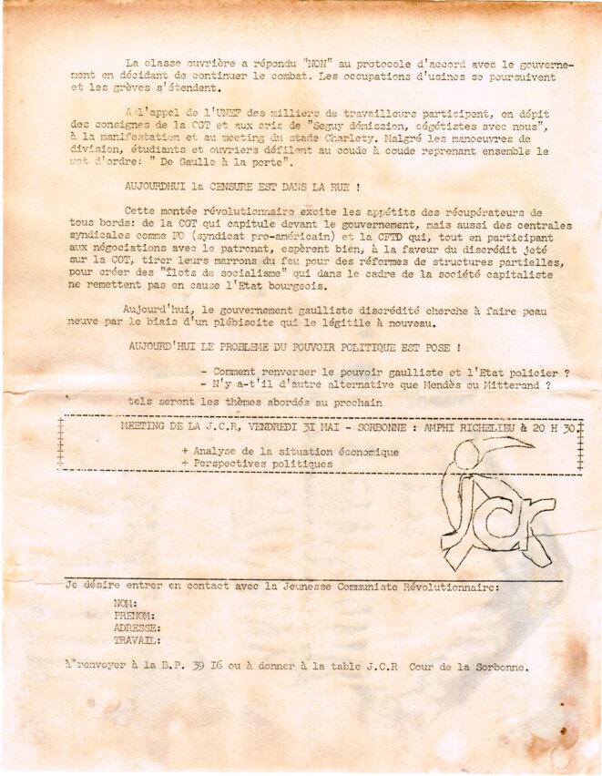 Position de la JCR après Charlety. Appel à un nouveau meeting le 31 mai à la Sorbonne., © JCR. Jeunesse communiste révolutionnaire