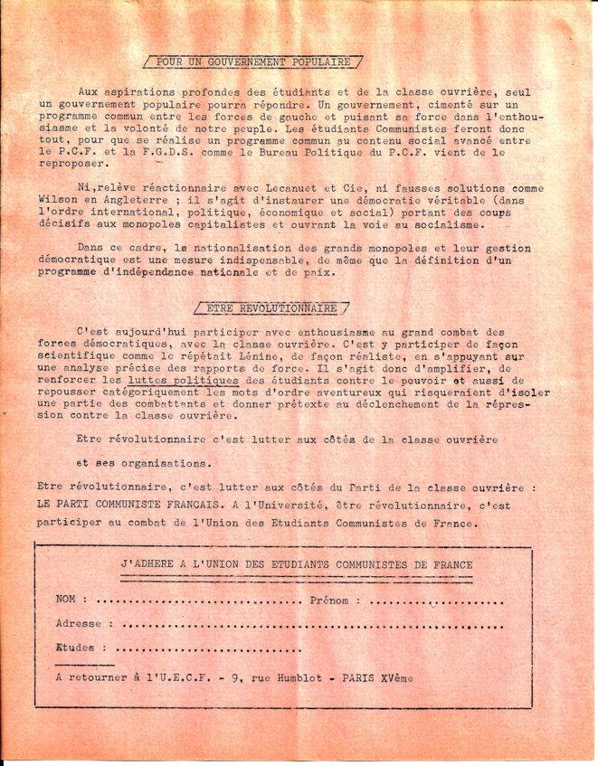 Le parti communiste français invite les étudiants à adhérer et à participer aux combats de l'UECF © UECF,  union des étudiants communistes de France