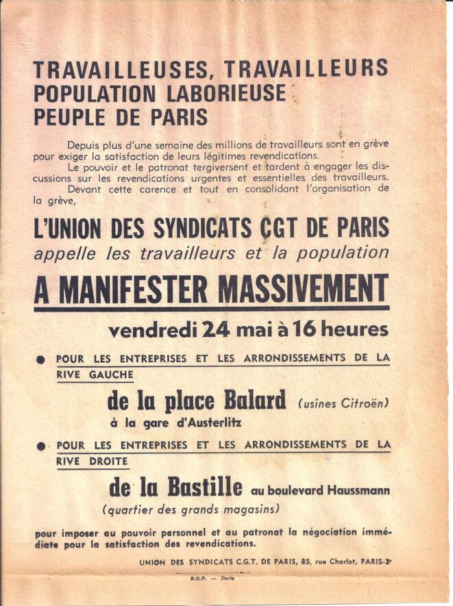 Appel de la CGT au peuple de Paris, à manifester © Union des syndicats CGT de Paris