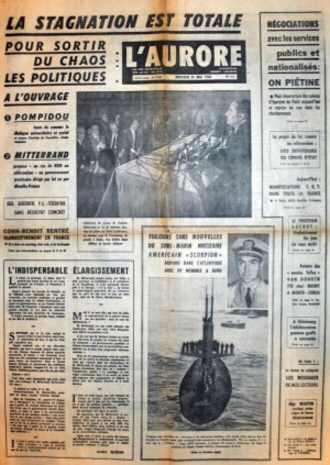 1ère page du journal © L'AURORE du 29 mai 1968