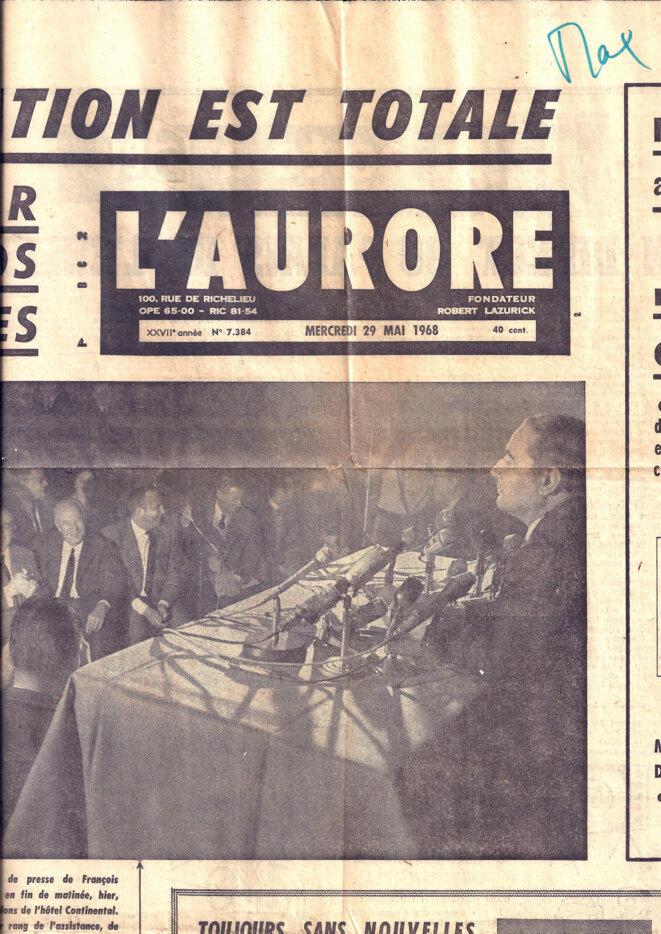 Mitterand à la Une © L'AURORE du 29 mai 1968