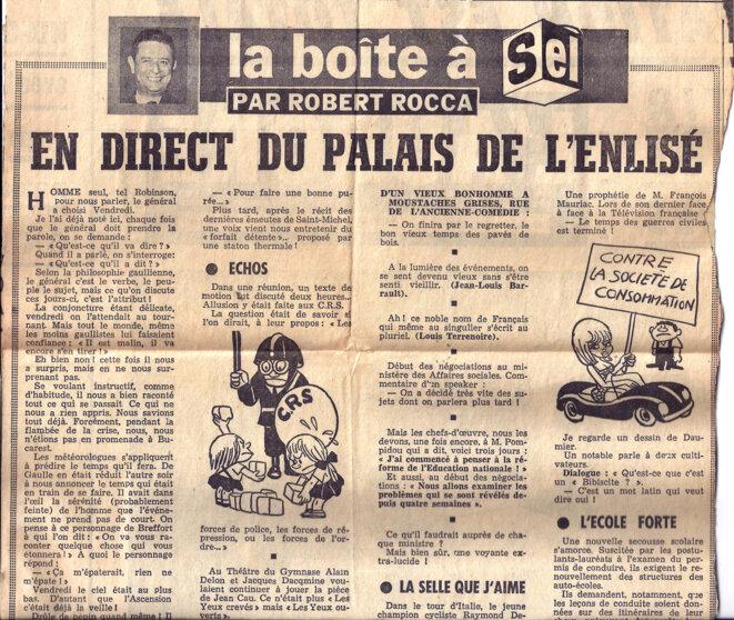 """© Journal l'AURORE du 29 mai 1968 : """"la boite à sel"""" par Robert Rocca"""