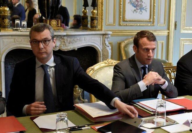 Alexis Kohler et Emmanuel Macron à l'Elysée, en mai 2017. © Reuters