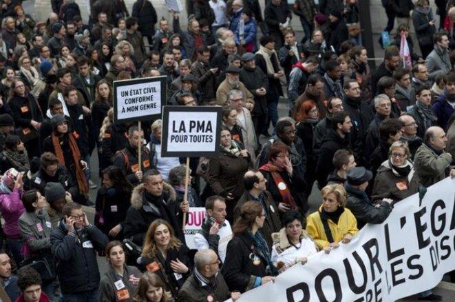 Manifestation parisienne en faveur du mariage pour tous, en décembre 2012. © Julien Muguet/Reuters