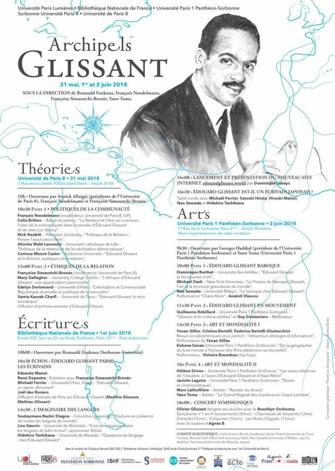 Programme du colloque international : «Archipels GLISSANT» en Sorbonne.