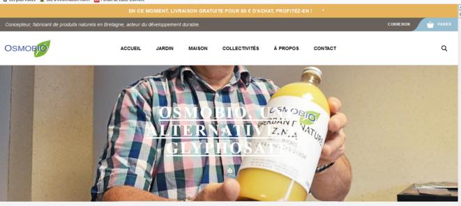 Capture d'écran du site de vente du produit Osmobio