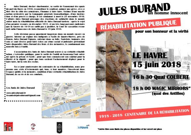 Dépliant pour le 15 juin recto © Les Amis de Jules Durand
