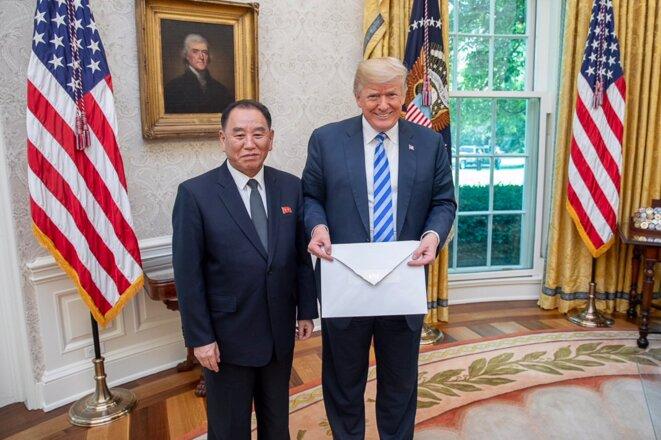 Donald Trump et l'émissaire nord-coréen à la Maison Blanche, 1er juin 2018. © Maison-Blanche