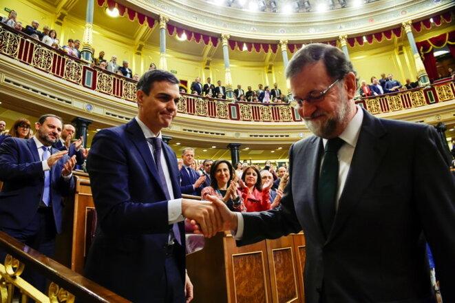 Pedro Sanchez et Mariano Rajoy, le 1er Juin 2018 à Madrid