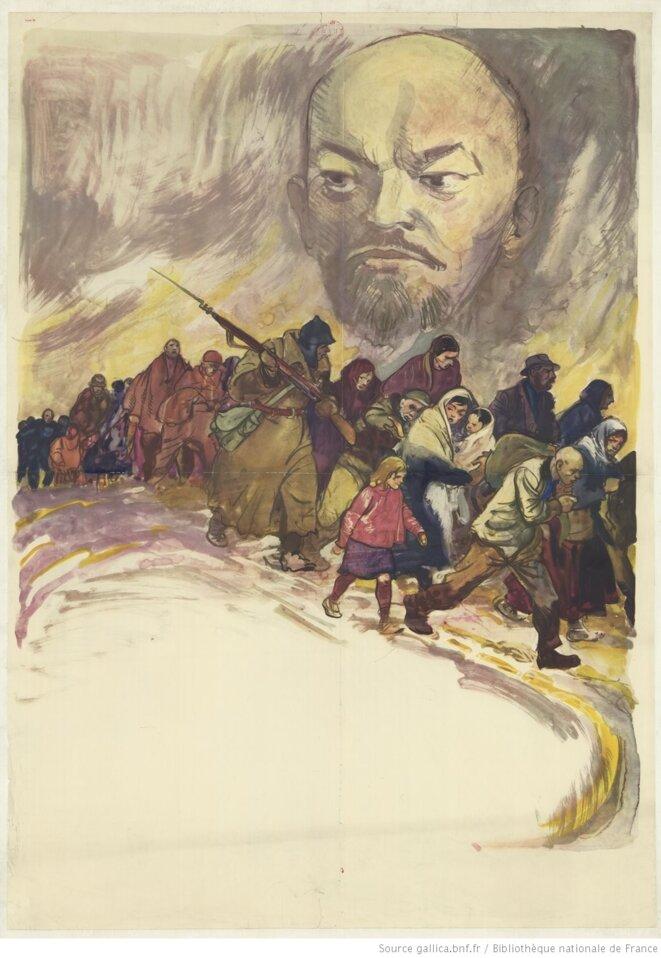 Affiche anticommuniste de la Seconde Guerre mondiale mettant en scène avec le portrait de Lénine le thème récurrent de l'ennemi intérieur contre les réfugiés. Auteur anonyme. Source: BNF, www.gallica.bnf.fr. Format 121 x 85,5 cm.