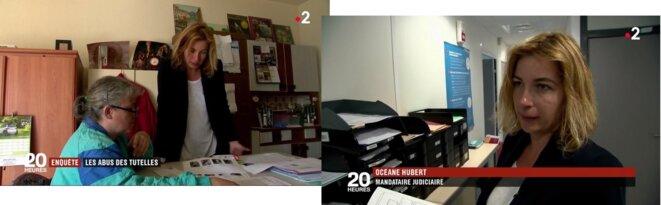 """Courte séquence avec une mandataire judiciaire auprès d'une personne protégée : présentation positive de son action alors que France 2 a titré """"Enquête : les abus et les arnaques des tutelles"""", pour bien mettre en évidence, par ailleurs, deux cas considérés comme des abus [capture d'écran]"""