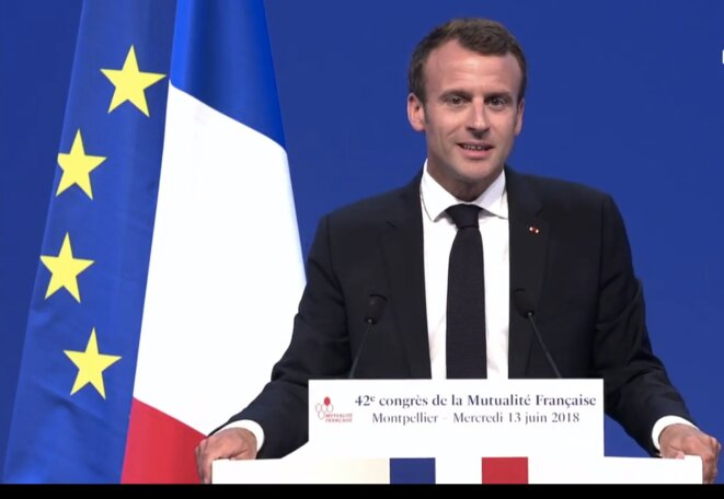 Emmanuel Macron speaking in Montpellier, June 13th 2018. © DR