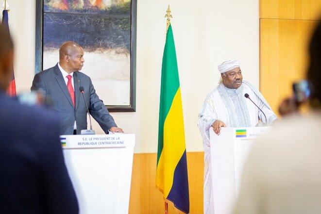 Son Excellence Ali Bongo Ondimba et S.E. Faustin Archange Touadera : Conférence de presse des deux chefs d'Etat au Palais Rénovation