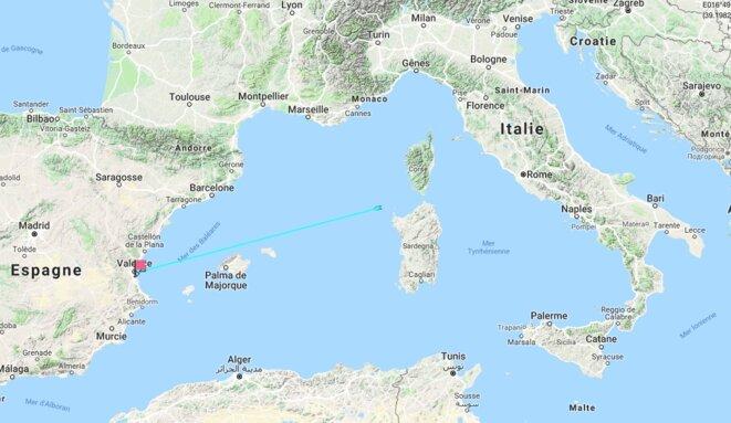 La feuille de route de l'«Aquarius», à 700 km de Valence.