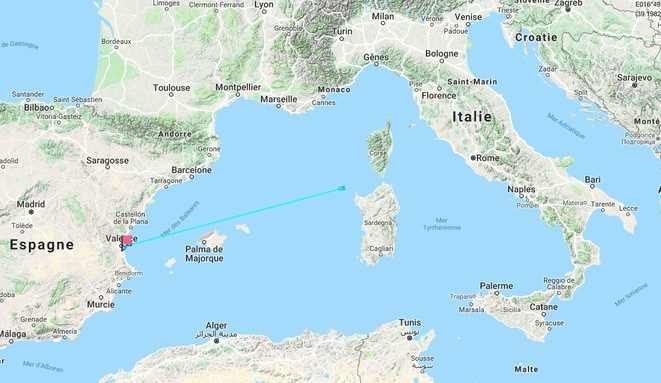 The position and future route of the Aquarius on Friday morning, 378 nautical miles (about 700 kilometres) from Valencia.