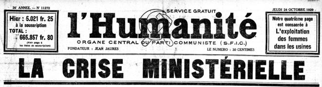 L'Humanité, 24 octobre 1929, la crise américaine ne fait pas la Une