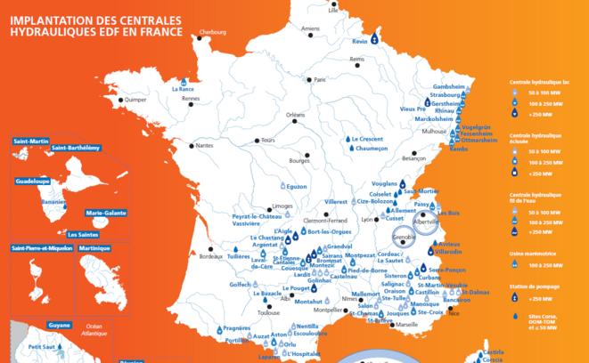 Centrales hydrauliques en France. © EDF