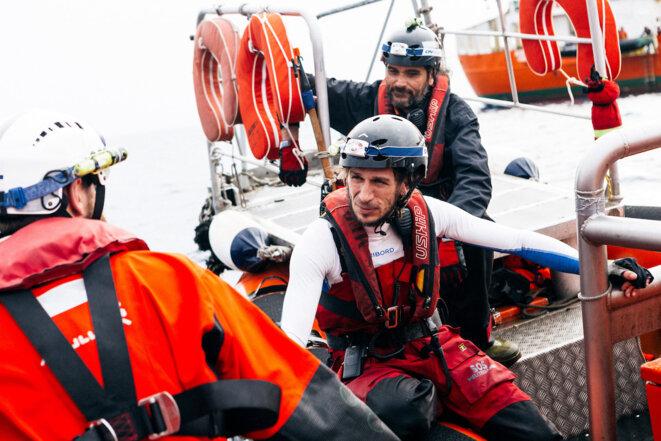 Tanguy Louppe, marin breton, sur l'Aquarius au printemps dernier © Yann Levy