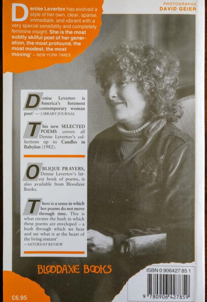 Denise Levertov au sommaire de l'éditeur britannique Bloodaxe Books.