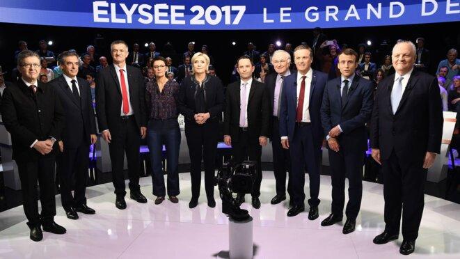 Les candidats rassemblés lors d'un débat de l'élection présidentielle, le 4 avril 2017. © Reuters