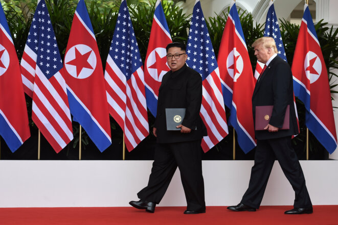 Trump et Kim, le 12 juin à Singapour. © Reuters