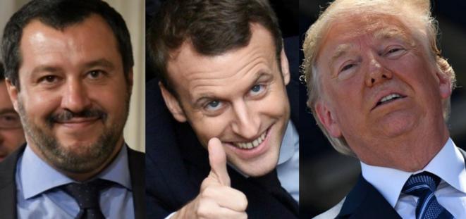 De gauche à droite : le ministre de l'Intérieur italien Matteo Salvini, le président français Emmanuel Macron et le président américain Donald Trump. © A. Solaro/D. Charlet/N. Kamm / AFP