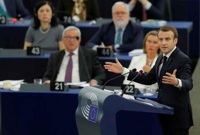 Le président Emmanuel Macron au Parlement européen à Strasbourg le 17 avril 2018 © Reuters