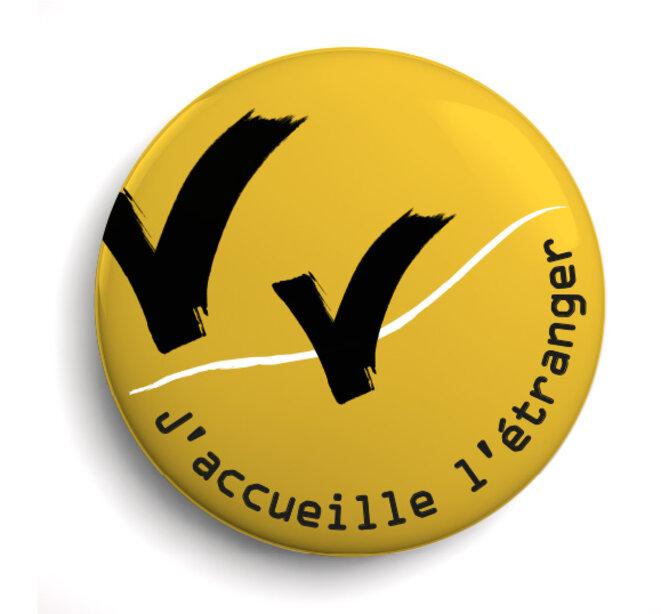 """Badge """"J'accueille l'étranger"""""""